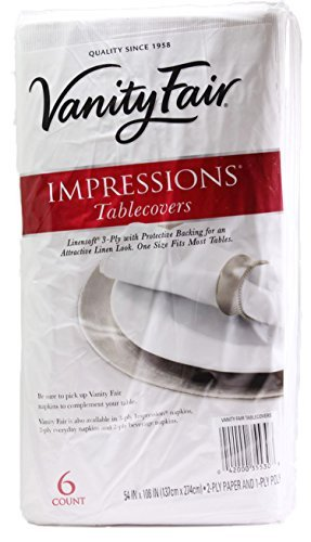 Vanity Fair Disposable Tablecovers, 3 Ply, 54'' x 108'', 6 Linensoft Tablecovers (Pack of 3) by Vanity Fair