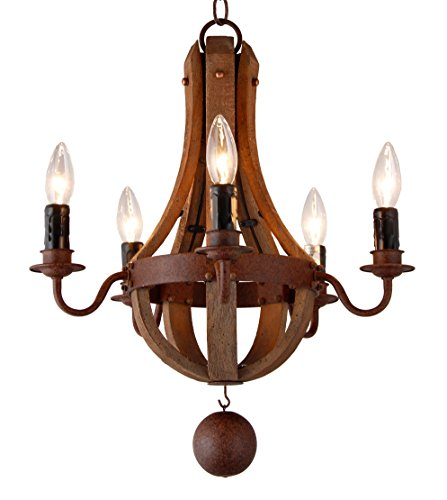 16.7 Inch Vintage French Country Wood Metal Mini Wine Barrel Chandelier (5 Light Heads) Living Dinning Kitchen Lamp (Light Wine Barrel)
