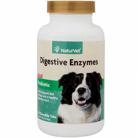 ENZIMAS DIGESTIVAS NaturVet con Probióticos Masticables Para Perro Gato 60 Tabs