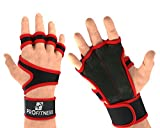 ProFitness Cross Training Gloves With Wrist Support (Fire Red, Medium)