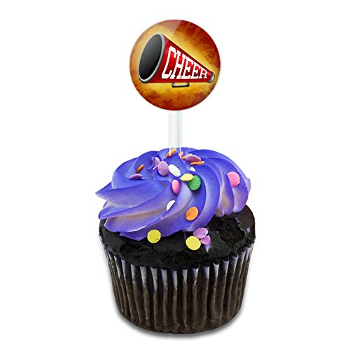 Cheerleading Megaphone Cake Cupcake Toppers Picks Set