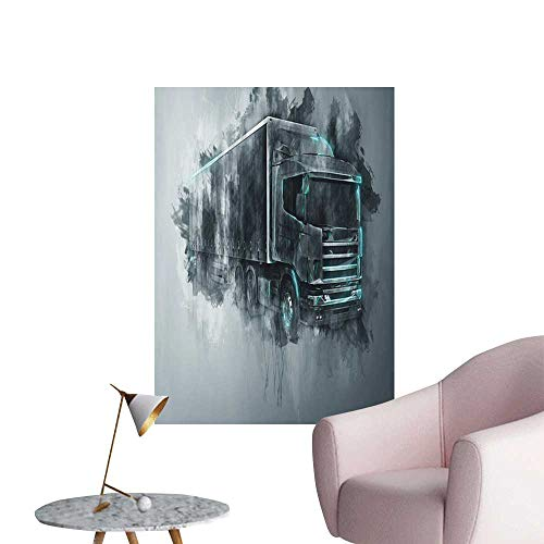 Jaydevn Truck Wall Stickers Greyscale Illustration of a Tractor Trailer with Paint Smears Cargo Delivery Children's Room Wall Grey Turquoise W16 x H20