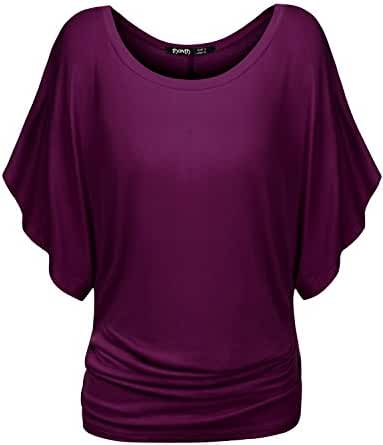 TWINTH Dolman Drape Tunic Plus Size Side Shirring Loose Fit Short Sleeve Top T-Shirts