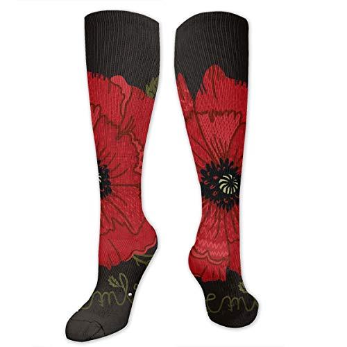Compression Socks Rose Skull Soccer Sports Knee High Tube Socks For Women And Men