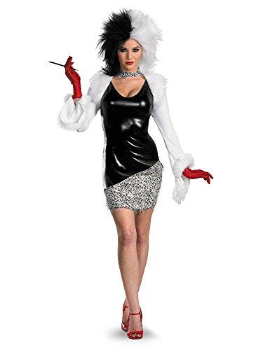 Disguise Women's Disney 101 Dalmatians Sassy Cruella Costume, Black/White, ()