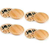 TOSCANA - a Picnic Time Brand Circo Cheese Board with Cheese Tools (Four Pack)