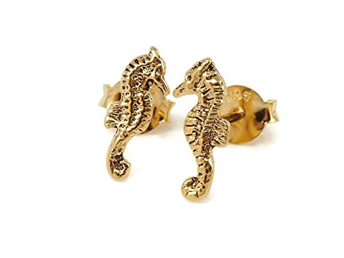 925 Sterling Silver Earring Cartilage For Women Ear Stud Helix 14kt Gold Pleated Seahorse 3/8