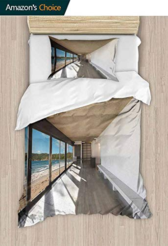 Temox Beach Bedspread Set Queen Size, Coastal Home Design with Ocean Sea Waves Sand Image Art Print, Kids Bedding-Does Not Shrink or Wrinkle,59 W x 78 L Inches, Pale Brown White and Sky Blue