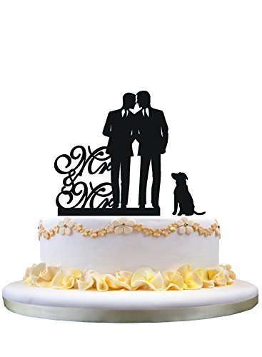 Gay wedding cake topper with dog, mr and mr cake topper by restore2a