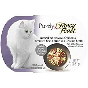 Purina Fancy Feast Natural Broth Wet Cat Food, Purely Natural White Meat Chicken & Shredded Beef Entrée - (10) 2 oz. Trays 55