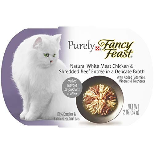 Purina Fancy Feast Natural Broth Wet Cat Food, Purely Natural White Meat Chicken & Shredded Beef Entrée - (10) 2 oz. Trays