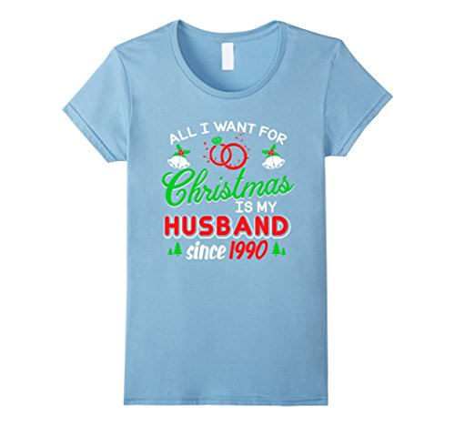 Womens Christmas Shirt For Wife Since 1990. 27th Anniversary Gift. Medium Baby Blue