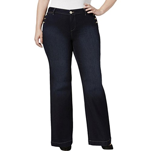Style & Co. Womens Plus Button-Trimmed Mid-Rise Jeans Black 20W