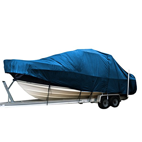 Hardtop Boat Cover (Center Console WalkAround Cuddy W/ bow rails Fishing T-Top Hard-Top Boat Cover Blue fits up to 34')