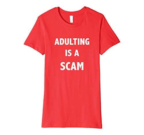 Womens Adulting Is Scam T Shirt Small Red