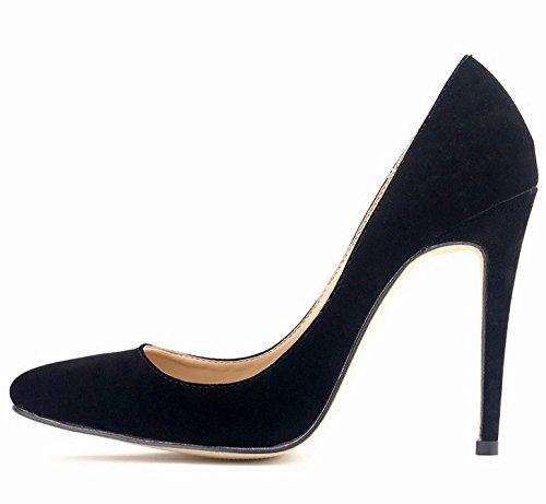 Azbro Zapatos Tacón Alto Estiletes Pu Sólido Punta-Estrecha Negro