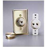Leviton 41650-6 QuickPort Floor Jack Assembly, One 6-Conductor and 1 Blank Insert, Solid Brass