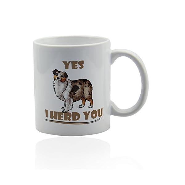 Australian shepherd white ceramic mug for coffee or tea 11 oz. Aussie dog mom Gift cup. 1