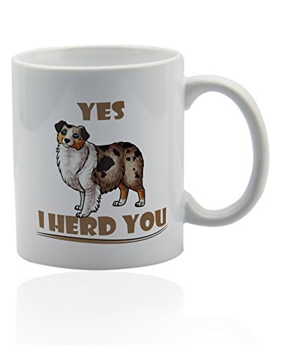Australian shepherd white ceramic mug for coffee or tea 11 oz. Aussie dog mom Gift cup. ()