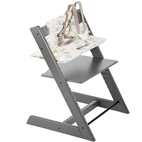 Stokke Tripp Trapp Highchair & Tripp Trapp Cushion Sweet Butterfly (Storm Grey )