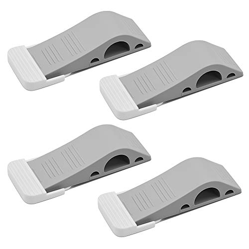 NADAMOO Rubber Door Stopper 4 Pack, Decorative Wall Protector Door Wedge Non Scratching Door Holder Prevents Door from Slamming Shut for Large & Small Door Gaps, Multi Door ()