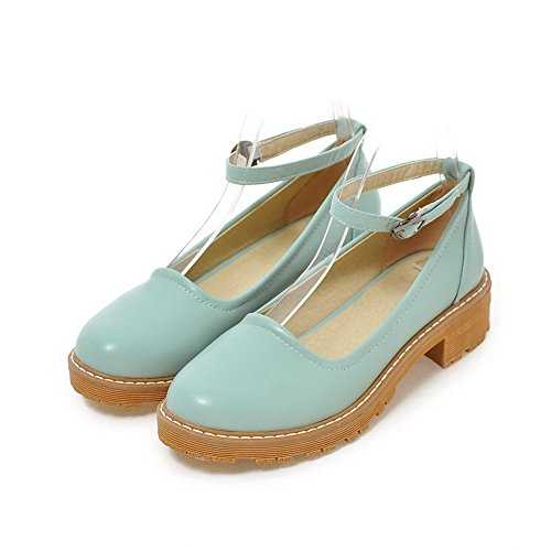 Odomolor Women's Buckle Pu Low-Heels Soild Closed-Toe Court Shoes, Blue, 41