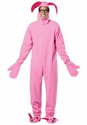 [Ponce Mens A Christmas Story Bunny Suit Costume Pink Jumpsuit Rabbit] (Film And Tv Costume Design)