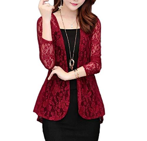 Coolred Women's Elegant Lace Shrug Cardigan Open Front Crochet Bolero Jacket Wine Red S