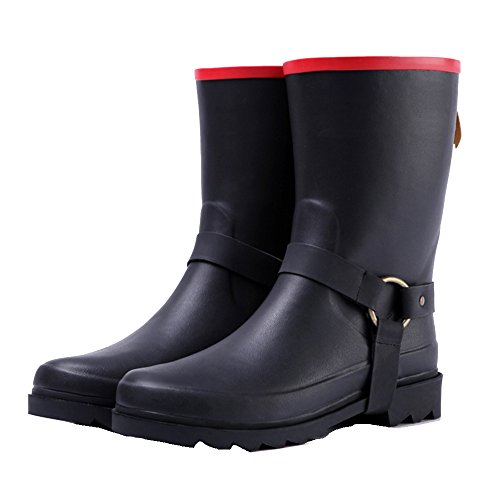 Summer Tube 5 Boots Rubber Spring Rain Black Martin NAN Elegant EU39 And Rubber Size CN40 UK6 Boots Rain Color Handsome Black Ladies Shoes Women's qE1x7Pf