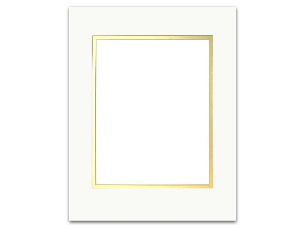 ADF Mat Dbl 11x14/8x10 CrmCore White/Gold Accent Design Framing Mat