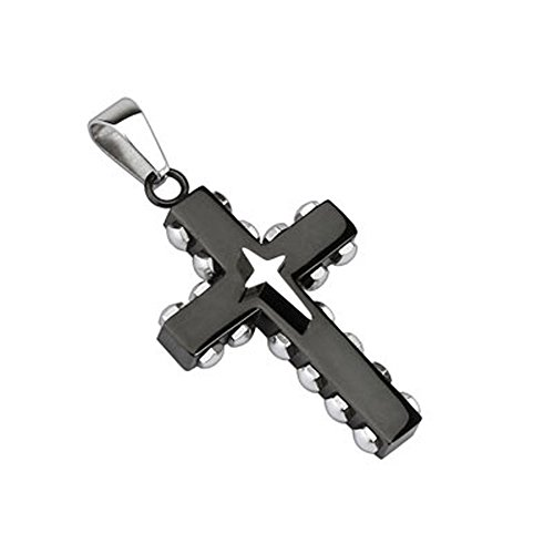 316L Stainless Steel Black IP Bolted Cross with Star Cross Pendant (Cross 5607)