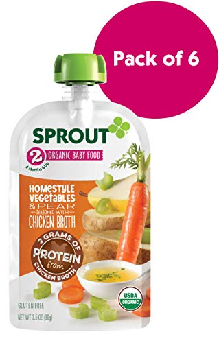 Sprout Organic Stage 2 Baby Food Pouches, Homestyle Vegetables & Pear w/ Chicken Broth, 3.5 Ounce (Pack of 6)