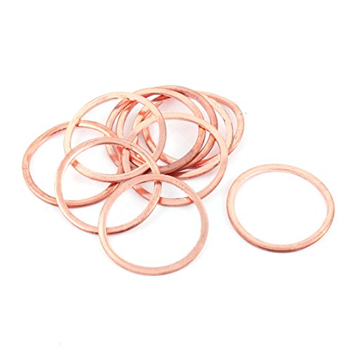 uxcell 10pcs 36mm x 30mm x 2mm Flat Ring Copper Crush Washer Sealing Gasket Fastener by uxcell