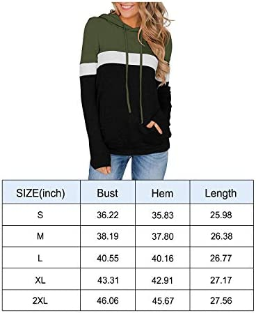 PINKMSTYLE Women's Casual Color Block Hoodies Tops Long Sleeve Drawstring Pullover Sweatshirts with Pocket(S-XXL)