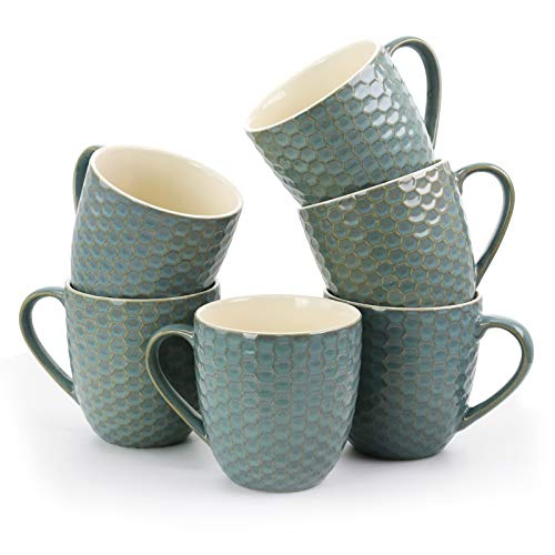 Elama EL-HONEYCOMBTURQUOISE Honeycomb 6-Piece 15 oz. Mug Set, in Turquoise, 15oz, ()