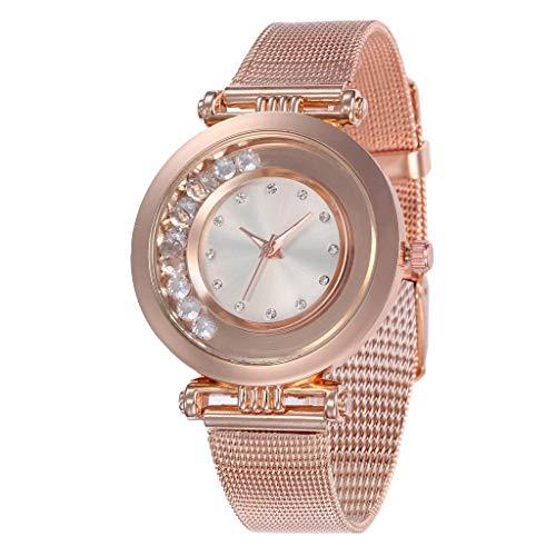 Women's Wristwatch Stainless Steel Crystal Waterproof Analog Dress Quartz Wrist Watch for Girl Lady (White, Free size)
