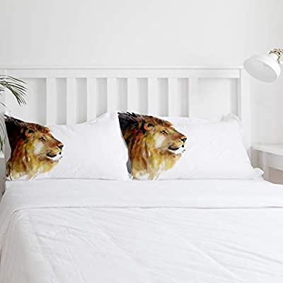 Duvet Cover Set Printed 4 Pcs Bedding Set Twin Size Include Duvet Cover, Bed Sheet, Pillow Shams Hand Drawn The Head of Lion Animal Printed Soft Quilt Sets for Children/Adults: Home & Kitchen