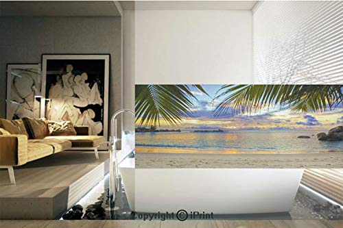 - Decorative Privacy Window Film/Sunset at Beach Rumbling Ocean Luxurious Resort With Palm Trees Travel Locations Picture/No-Glue Self Static Cling for Home Bedroom Bathroom Kitchen Office Decor