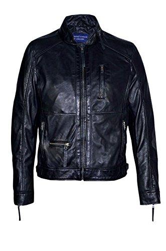 Smart Range 9056 Veste en cuir souple Pour Hommes de style Décontracté, modèle classique Noir Designer Zip Wax Collar Casuel