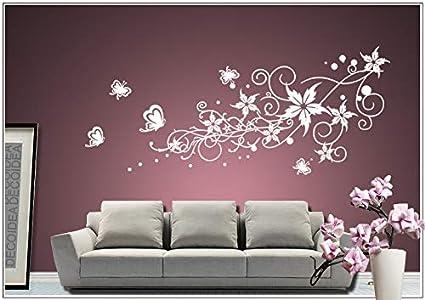 Wandtattoo wandaufkleber Aufkleber Wandsticker wall sticker Wohnzimmer  Schlafzimmer Kinderzimmer Ranke Blume Blumen Blumenranke Blumeranke Vine  Flower ...