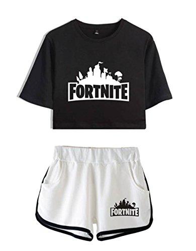 Completo bianco1 Ragazze Top Shorts Nero Shirt Donne e per Abbigliamento T ZIGJOY e Crop Fortnite vxBn86