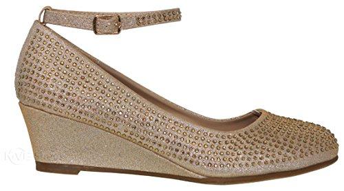 Strap Shoes Toe Pumps Champane Women's Wedge MVE Shoes Rhinestones 66 Ankle Party Sparkle Round x0UZx1wqa