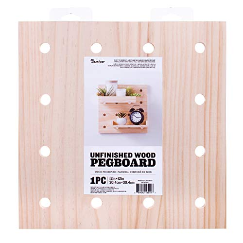 Darice 30053052 Unfinished, 12 x 12 inches Wood Pegboard Natural