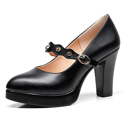 Plate Doux 42 XIE Base Femmes à Strass Forme Cuir Bloc Courroie Taille Cheville Chaussures 35 Talon Pompe Travail Cour HSxwC