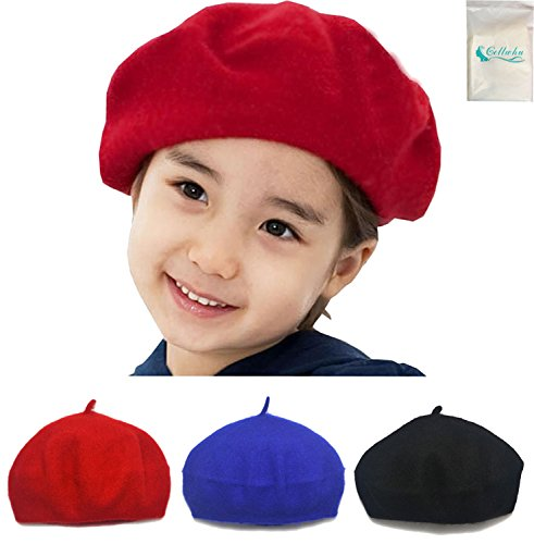 Gellwhu 3 Pack Children Wool French Beret Girl's Artist Hat for Toddler Kid Boy (Red + Black + Royal Blue)