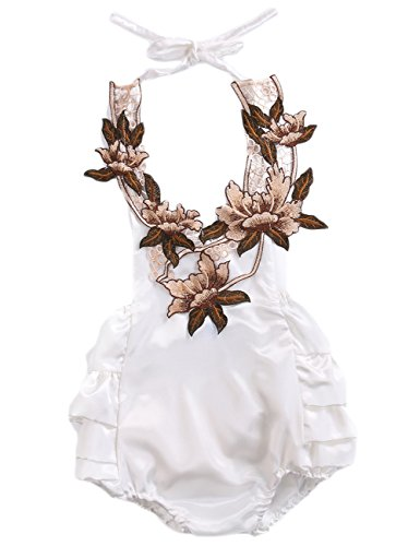 Baby Girl 3D Flower Applique Halter Floral Romper Backless Bodysuit Ruffle Sunsuit (0-6M, White)