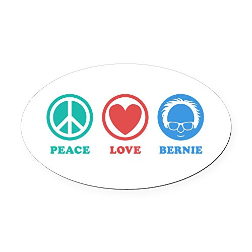2020 Icon - CafePress - Peace Love Bernie Icons Oval Car Magnet - Oval Car Magnet, Euro Oval Magnetic Bumper Sticker