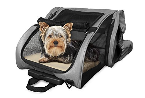 Wheeled Backpack Dog Carrier - FurHaven Pet Backpack | Backpack-Roller Carrier for Dogs & Cats, Gray