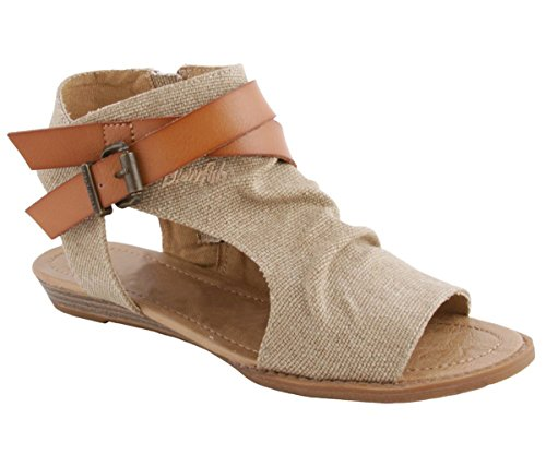 Royou Yiuoer Womens Flat Sandals Criss Cross Leather Strap Canvas Side Zipper Peep Toe Wedge Summer Shoes Beige Size US 8
