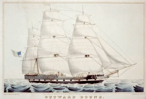 Photo: Outward bound,c1845,ship,US Flag,Currier & Ives,Photograph,water